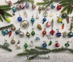 clear w sno gold DOLLHOUSE Tiny Decorated Brush Tree Christmas Taylor Jade red