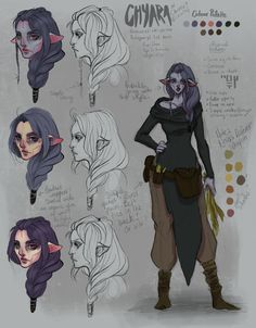 """nenverse: """"Another quick character concept of Chiara. I am thinking of changing her name spelling to """"Chyara"""" mainly because I want her name to be pronounced as CHI-YA-RAH not the Italian pronunciation. So I am going to discuss that with Lopi . Character Sheet, Character Concept, Character Art, Concept Art, Dungeons And Dragons Characters, D D Characters, Fantasy Characters, Fantasy Character Design, Character Creation"""