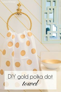DIY gold polka dot fabric painted towel - Cuckoo4Design