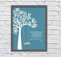 Bob Dylan Forever Young Family Tree Baby Gift Graduation Three Birds