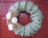 Personalized Twisted Burlap Wreath with Burlap Flowers. $40.00, via Etsy.