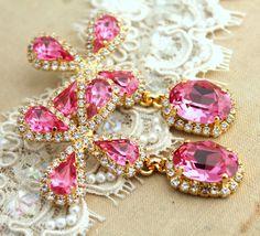 Chandelier Pink Swarovski RhinestonesBridal by iloniti on Etsy