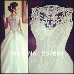 Online Shop 2014 New Arrival Amazing Sleeveless Crystal Ball Gowns Lace Appliques Wedding Dresses WD0534|Aliexpress Mobile