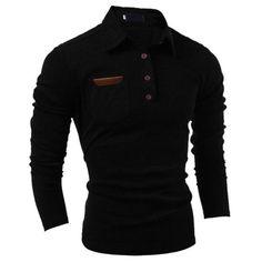 5722d36c Mens Stylish Slim Fit Casual Fashion T-Shirts Polo Shirt Long Sleeve Black  2Xl