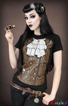 Black t-shirt steampunk vest with jabot | CLOTHING \ T-shirts | Restyle.pl