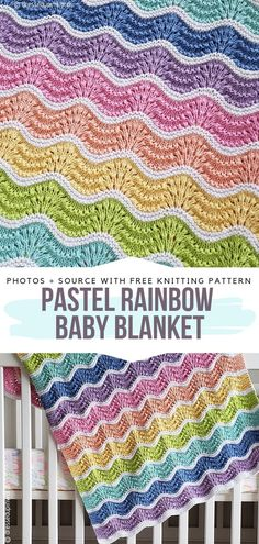 Pastel Rainbow Baby Blanket Free Knitting PatternThis great knitted wavy pattern looks amazing in pastel rainbow colours. Knitted Baby Blankets Free Patterns Pattern Center Crochet & Knit patterncentercom Knit for children Pastel Rainbow Baby Blan Baby Knitting Patterns, Crochet Baby Blanket Free Pattern, Baby Patterns, Free Knitting, Crochet Patterns, Free Crochet, Knit Crochet, Crochet Ripple, Pattern Sewing
