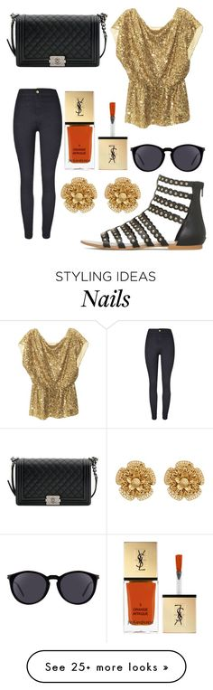 """Untitled #7429"" by ohnadine on Polyvore featuring Alice + Olivia, Chanel, Miriam Haskell and Yves Saint Laurent"
