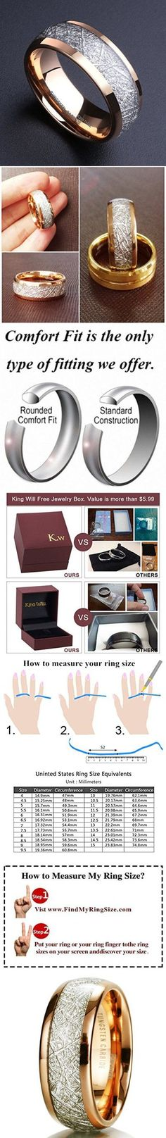 King Will Mens 8mm Domed 14k Gold Tungsten Carbide Ring Meteorite Inlay Wedding Band(9.5)