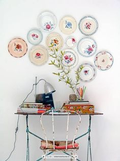 Spruce up your dull walls with some pretty plates. Place them in a random pattern to create a unique corner.