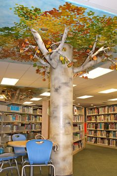 A tree for my seating area! I can paint the leaves on an old deck umbrella and make the trunk from cardboard tubes. Future Library, Library Wall, Kids Library, Dream Library, Elementary Library, Library Design, Library Ideas, Classroom Design, School Classroom
