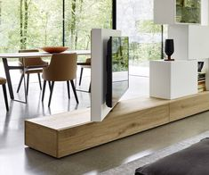 Livitalia Roto lowboard room divider with rotating TV panel-Livitalia Roto Lowboard Raumteiler mit drehbarem TV Paneel rotatable television panel living room kitchen room divider - Living Room Tv, Living Room Kitchen, Tv Stand Room Divider, Panel Divider, Tv Floor Stand, Tv Furniture, Home Accents, Living Room Designs, Room Decor