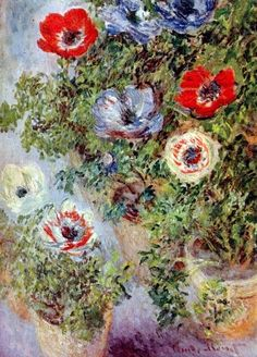 Schilderijbehang - Monet - Still life with Anemones