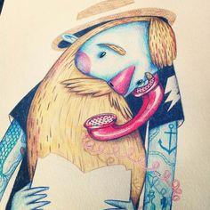 Bearded man by Jotaká, via Behance