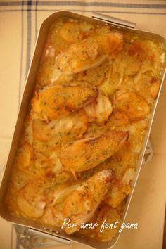 Calamares es forn amb patates de menorca