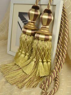 4 Colors QYM06 Faux Silk Curtain Tassel Tie Backs in Purple in Brown Color