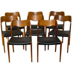 Eight Moller Teak Dining Chairs #71 | From a unique collection of antique and modern dining room chairs at https://www.1stdibs.com/furniture/seating/dining-room-chairs/