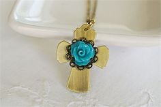 Metal Cross with Blue Rose Pendant and Antiqued Gold Chain