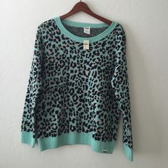 Brand new Victoria secret mint cheetah sweater  no trades  PINK Victoria's Secret Sweaters Crew & Scoop Necks