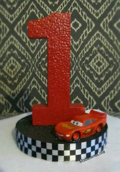 $8.50 ebay Cars Theme Birthday Party Centerpiece Table Decoration ANY Age Lightning McQueen