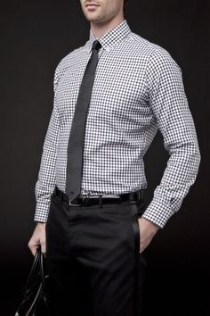 A Great Office Look - white and black microcheck shirt + black slim tie