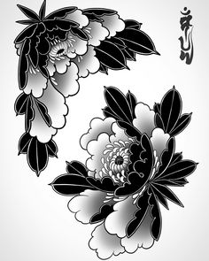 Japanese Peony Tattoo, Japanese Sleeve Tattoos, Japanese Flowers, Lotus Flower Tattoo Design, Floral Tattoo Design, Flower Art Drawing, Floral Drawing, Flor Oriental Tattoo, Flor Tattoo