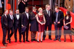 Actor Ilkka Koivula, finnish actor Janne Hyytiainen, syrian-finnish actor Sherwan Haji, actor Simon Hussein Al-Bazoon, Dieter Kosslick, actress Nuppu Koivu, finnish singer and actor Sakari Kuosmanen, Finnish director and screenwriter Aki Kaurismaki and actress Niroz Haji pose on the red carpet as they arrive for the 'The Other Side of Hope' (Toivon tuolla puolen) premiere during the 67th Berlinale International Film Festival Berlin at Berlinale Palace on February 14, 2017 in Berlin, Germany.