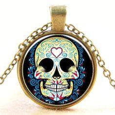 "Sugar #Skull Day of the Dead Glass Cabochon Pendant #Necklace 18""-20"""