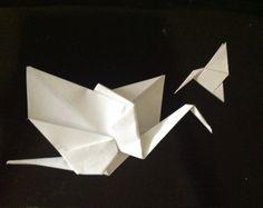 Origami crane and hummingbird