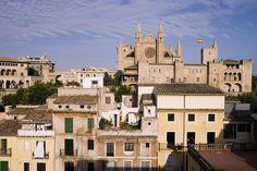 Houses and La Seu Palma Cathedral - Mallorca, Spain
