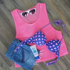 Hot Pink Mesh Top Calling all hot hot pink panthers!  You'll need some shades for this fluorescent pink muscle tee. Perfect as a bathing suit cover up or as an everyday top with a bandeau underneath.  Spring & Summer ready! Tops