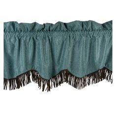 "Cheyenne Turquoise Fringed Faux Tooled #Leather #Western #Valance 84"" x 18"" #DelectablyYours #WesternDecor"