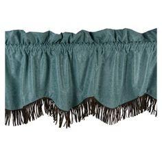 """Cheyenne Turquoise Fringed Faux Tooled #Leather #Western #Valance 84"""" x 18"""" #DelectablyYours #WesternDecor"""