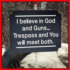 Love this sign! I believe in God & guns. If you trespass, you will meet both. Pro Gun, Great Quotes, Me Quotes, Funny Quotes, Redneck Quotes, Quotes Pics, Sign Quotes, Southern Pride, Southern Women