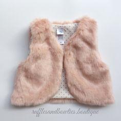 Pre-Order US ONLY - Baby Girl Boho Faux Fur Pink Fall Vests -The Faux Fur Vest - Baby Vest - Kids Vest - shower gift - birthday present-Baby Clothing -modern faux fur -shrug - vest