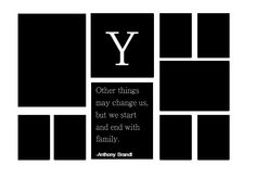 Family photo wall idea for our living room.  All black and white pictures and print.