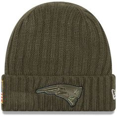 Men s New England Patriots New Era Olive 2017 Salute To Service Cuffed Knit  Hat ef9e39980