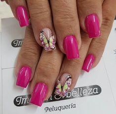 Gel Nail Art, Gel Nails, Butterfly Nail Art, Bridal Nail Art, Nail Jewels, Cute Nail Designs, Gorgeous Nails, Wedding Nails, Coffin Nails