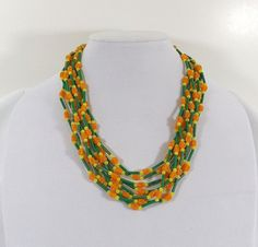 HONG KONG Four Strand Plastic Bead Necklace by KatsCache on Etsy, $11.95