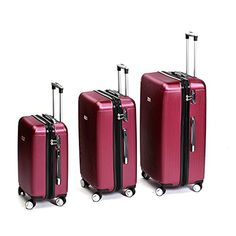 English Laundry 3 Pieces ABS Trolley Case Luggage Set Burgandy * Check out this great product.
