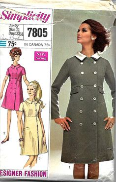 Simplicity 7805 Misses & Junior Designer Fashion Pattern, Coat Dress With Detachable Collar, Size 11, Bust 33 1/2 by DawnsDesignBoutique on Etsy