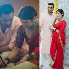 Zaheer Khan and Sagarika Ghatge got married on Nov They have married simply in a registrar office.They have organized a wedding party to close friends, family.Here are the wedding highlights of Zaheer Khan and Sagarika Ghatge. Engagement Dress For Bride, Engagement Saree, Wedding Looks, Bridal Looks, Bridal Style, Indian Designer Outfits, Indian Outfits, Bridal Outfits, Bridal Dresses