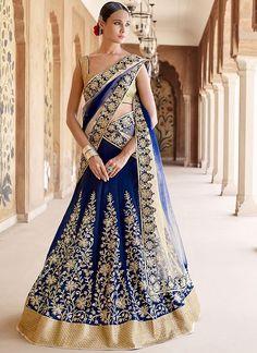 Navy blue and golden designer lehenga choli for bridal, to get more information just click on this link http://www.zipker.com/stunning-in-blue-beige-padding-banglori-silk-net-lehenga-choli.html.