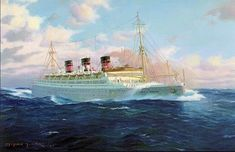 Stephen J. Card - Queen of Bermuda (Furness-Bermuda Line) in heavy seas