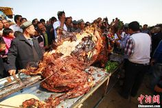 "The World's Largest Dish: Whole Camel Stuffed with Sheep Stuffed with Chicken Stuffed with Fish ""...a full-grown camel, take out the insides and stuff it with a few sheep or lambs which are in turn stuffed with about 20 chickens full of fish....sometimes prepared at wedding feasts and special parties in Arab countries like Saudi Arabia."""
