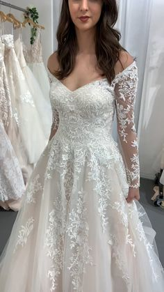 Moonlight Sparkly Long Sleeve A-line Wedding Dress With Train, Walk down the aisle feeling like a royal bride in Moonlight Bridal and its romantic A-line silhouette. This long sleeve gown includes a v-neckli. Top Wedding Dresses, Wedding Dress Trends, Gown Wedding, Ivory Wedding Gowns, Romantic Wedding Gowns, Wedding Dress With Pearls, Wedding Dresses Detachable Skirt, Vintage Wedding Gowns, Beautiful Wedding Dress