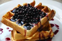 'best waffles ever' recipe from King Arthur Flower..along with Blueberry Maple Syrup recipe