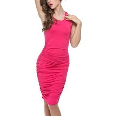 Copy of Bodycon U-Neck Stretch Ruched Dress *Plus
