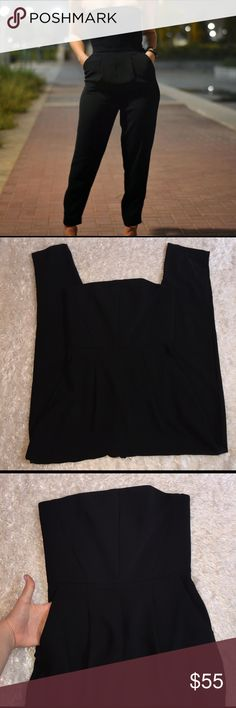 "Topshop Black Jumpsuit Perfect amount of sexy to add to a night out! Size 4, inseam: 27"". In very excellent condition, no flaws. Cover photo credits to The Laura Carlson Blog Spot. Feel free to ask any questions! Topshop Pants Jumpsuits & Rompers"
