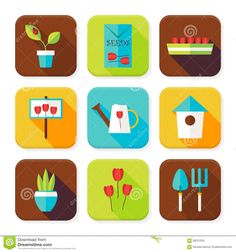 images of flat flower icon set | Flat Gardening And Flowers Squared App Icons Set Stock Vector - Image ...