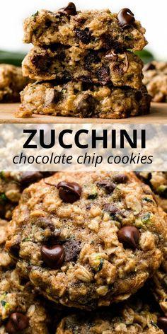 Zucchini Oatmeal Cookies, Zucchini Cookie Recipes, Zucchini Chocolate Chip Cookies, Zuchinni Recipes, Chocolate Chip Oatmeal, Baking Recipes, Dessert Recipes, Baked Zucchini Recipes Healthy, Shredded Zucchini Recipes